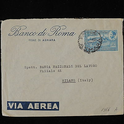 ZS-Y875 ETHIOPIA - Cover, 1956, Banco Di Roma, Airmail To Italy