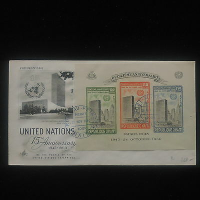 ZS-Y978 HAITI - United Nations, 1960, 15Th Anniversary, Imperf. Sheet Cover