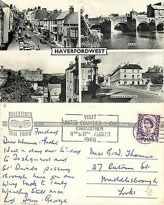 s08418 Haverfordwest, Pembrokeshire, Wales RP postcard posted 1966 stamp