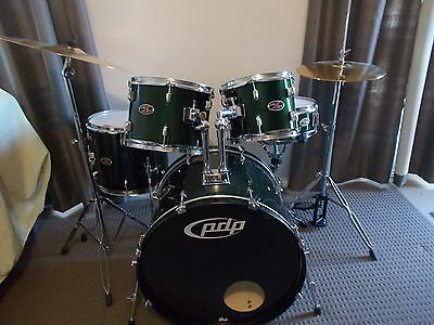 PDP by DW,  dark GREEN Z5 DRUM SET ,CYMBALS and STOOL ,