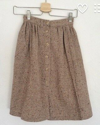 Vintage Girls 1970s French Tweed Pleated Flecked Wool Midi Skirt Age 5 6 7