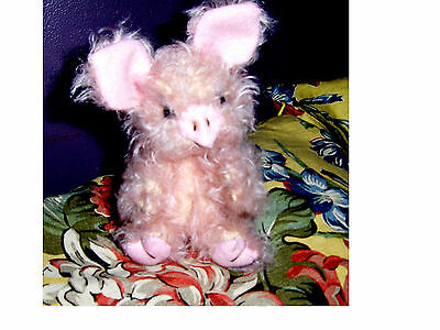 "Teddy piggy  collectable 8"" Fuzzy, German  mohair, glass eyes, jointed, SALE"