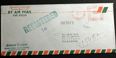 Pakistan 1986 meter mark registered cover to Finland