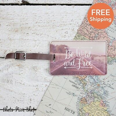 Wild & Free Luggage Tag Gift Travel Holiday Label ID Tags Fun SuitcaseBag Pink