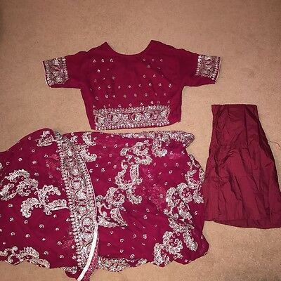 burgundy Sari With Top And Petticoat Size 12 Bollywood