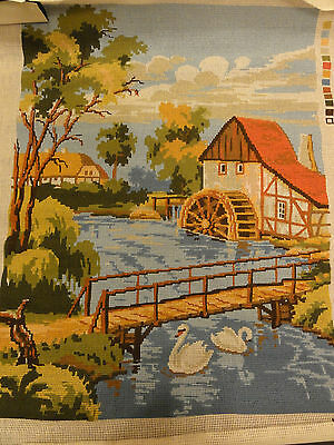 Twilleys of Stamford, Tapestry Canvas. Watermill and pond with Swans..
