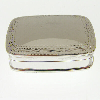 Hallmarked Solid Silver Pill Box.  Sterling 925 Silver Pill Box Hand Engraved