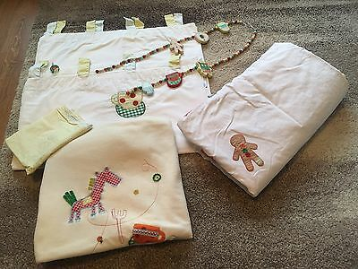 Mamas And Papas Gingerbread Nursery Set Curtains, Cot Duvet, Tie Backs, Blanket
