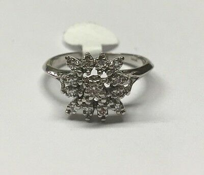 Vintage Antique 14K White Gold Diamond Star Shaped Cluster Cocktail Ring