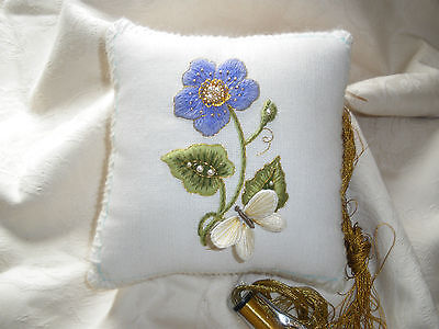 Forget me not- Pincushion- a crewel and stumpwork embroidery kit for beginners