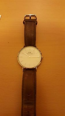 Daniel Wellington 'Bristol' Classic Silver Men's Watch Brown Leather
