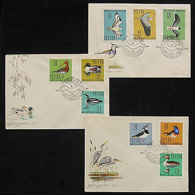 ZS-Z115 POLAND - Birds, 1964 Fdc Lot Of 3 Covers