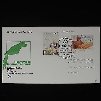 ZS-Z363 CHILE - Lufthansa, 1983 First Flight Santiago Montevideo Cover