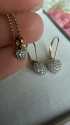 9Ct Gold And Diamond - Heart Shaped Necklace And Earring Set
