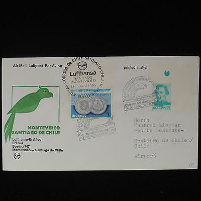 ZS-Z604 URUGUAY - Lufthansa, 1983 First Flight Montevideo Santiago Dechile Cover