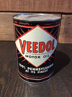 Veedol Motor Oil Can 1qt Early Rare Collectible Quart Can Vintage