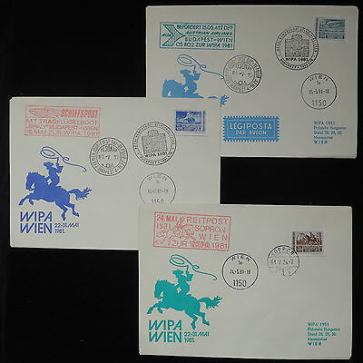 ZS-Z788 HUNGARY - Ffc, 1981 Special Flight Wipa, Lot Of 3 Covers