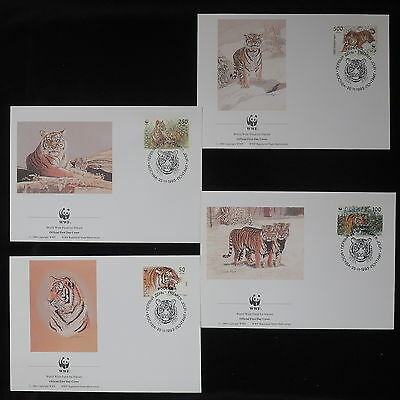 ZS-Z814 WWF - Russia, 1993 Fdc, Tiger Lot Of 4 Covers