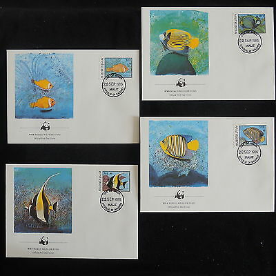 ZS-Z831 WWF - Maldives Ind, 1986 Fdc, Tropical Fish, Lot Of 4 Covers