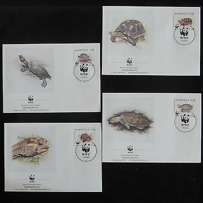 ZS-Z834 WWF - Venezuela, 1992 Fdc, Turtles, Lot Of 4 Covers