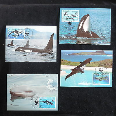 ZS-Z840 WWF - Sao Tome & Principe Ind, 1992 Maximum Card,Whales, Lot Of 4 Covers