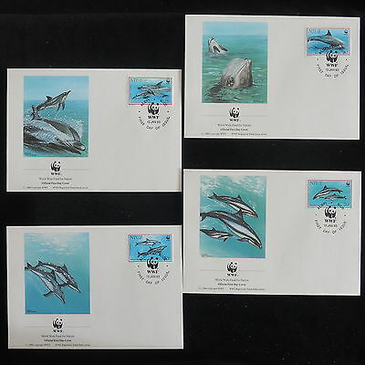 ZS-Z842 WWF - Niue Ind, 1993 Fdc, Dolphins, Lot Of 4 Covers