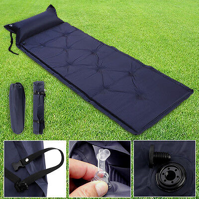 Single Inflating Camping Roll Mat Pad Inflatable Bed Sleeping Mattress +Bag