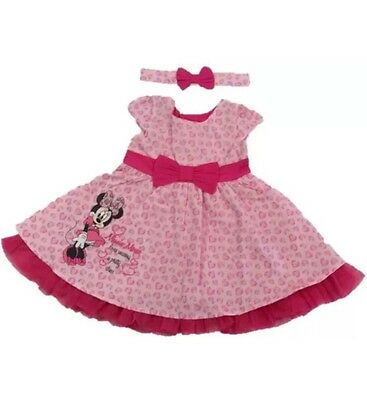 Minnie Mouse Baby Girl Dress With Matching Headband 6-9, 9-12, 18-24 BNWT