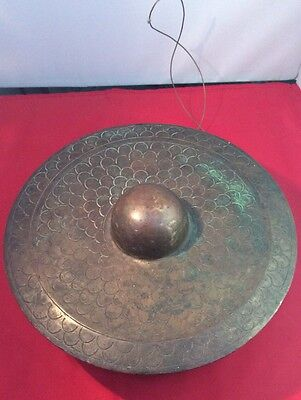 Antique Oriental Bronze Gong With Decoration