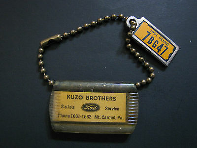 Vintage 1950's Ford Dealer Key Chain Kuzo Brothers Mount Carmel Pennsylvania Mt.