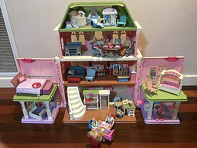 Fisher Price Loving Family Grand Doll House And Dolls And Furniture EUC