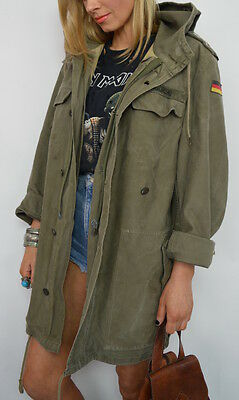 Genuine 90s German Army Quilted Hooded Field Jacket Large