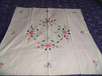 vintage cream cotton applique embroidered table cloth 32x32""