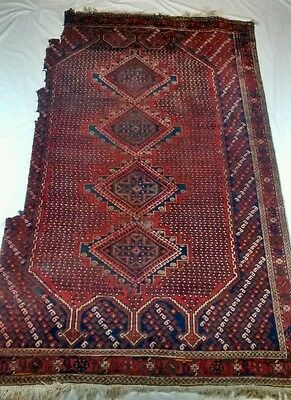 Vintage Antique Distressed Wool Flat Weave Turkish Style Rug Repair Repurpose
