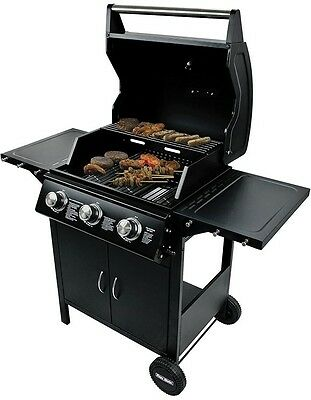 Flame Master Professional Chef 3-Burner Gas Barbecue Outdoor Party BBQ Garden