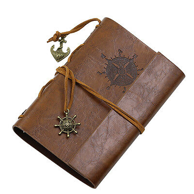 1 pcs Brown Ancre Simili Cuir Couverture Notebook Journal Agenda Blank Cordon