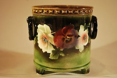 Small Victorian Pottery Plant Pot Stand with Hand Painted Detail
