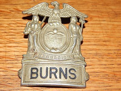 Antique Burns Security Guard Hat Badge Security Officer