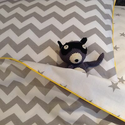 100% Cotton cot bed duvet cover set boys bedding grey stars and chevron