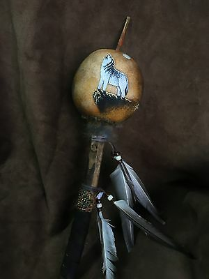 Hand Painted Dance Gourd Rattle ,HOWLING WOLF ,Ceremonial, Santa fe style decor