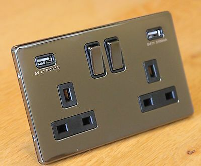 Screwless black nickel 13A double / 2 gang wall socket with 2 USB Outlet Ports