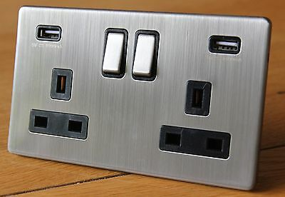 Screwless brushed chrome 13A double / 2 gang socket with 2 USB Outlet Ports