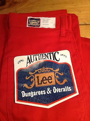 VINTAGE 1970s LEE RED CARPENTER DUNGAREES WOMENS 25x32 UNWORN USA