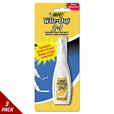 BIC Wite-Out 2 in 1 Correction Fluid 15 ml Bottle White [3 PACK]