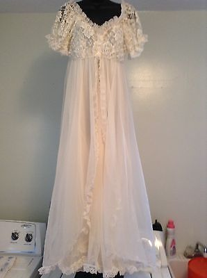 VINTAGE Tosca Lingerie Ivory Peignoir Robe & Nightgown Set Size LARGE Parts Only