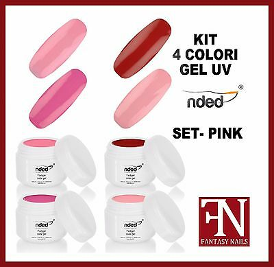 KIT 2722 PINK - N° 4 COLORI GEL UV nded - colore rosa rosso 5 ml nail art unghie