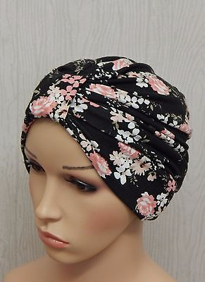 Chemotherapy full head covering chemo headwear cancer turban hat stretchy cap M