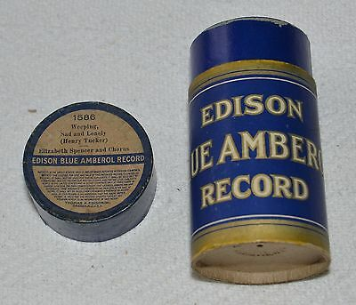 Edison Blue Amberol Cylinder Record #1586 - Weeping, Sad And Lonely