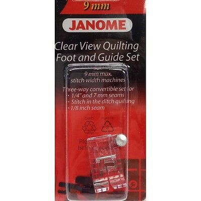 """JANOME CLEAR VIEW 1/4"""" QUILTING + STITCH IN THE DITCH FOOT WITH 2 GUIDES 9mm"""