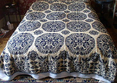 American jacquard coverlet eagle dated 1838 blue summer winter Pennsylvania wool